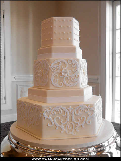 Cake Place Tiered Ivory Hexagon Wedding Cake