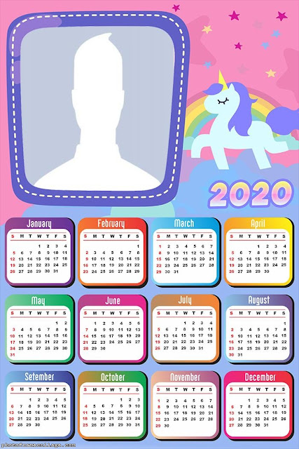 Unicorns: Free Printable 2020 Calendar