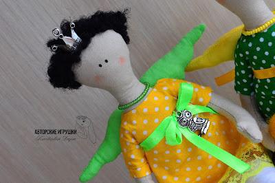 Кукла Tilda, ангел Tilda, ангел Tilda принцесса на горошине, ангел Tilda на подушках, Тильда на горошине, кукла тильда купить киев, кукла тильда в желтом и зеленом