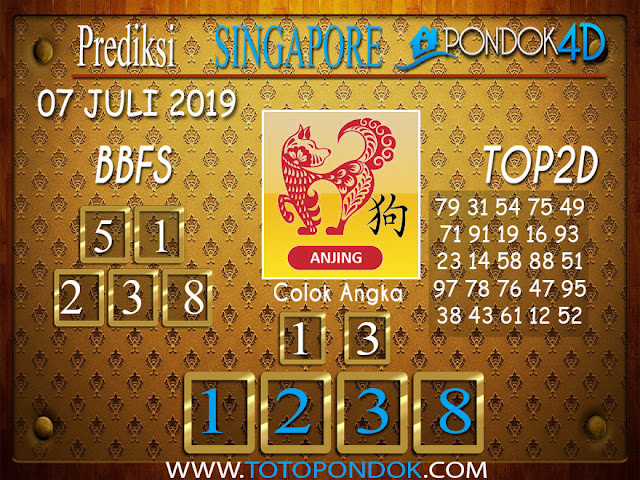 Prediksi Togel SINGAPORE PONDOK4D 07 JULI  2019
