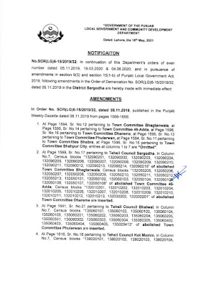 DEMARCATION OF TEHSIL COUNCILS AND ABOLISHED TOWN COMMITTEES OF DISTRICT SARGODHA