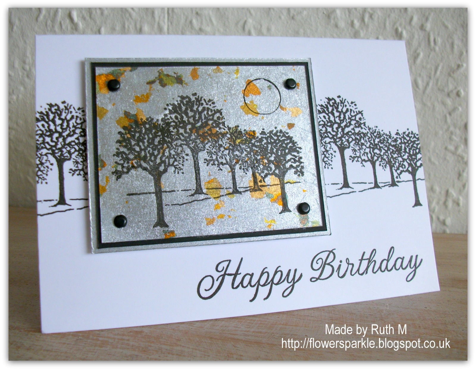 Birthday Cards Delivered ~ Flower sparkle gilding flakes trees happy birthday card