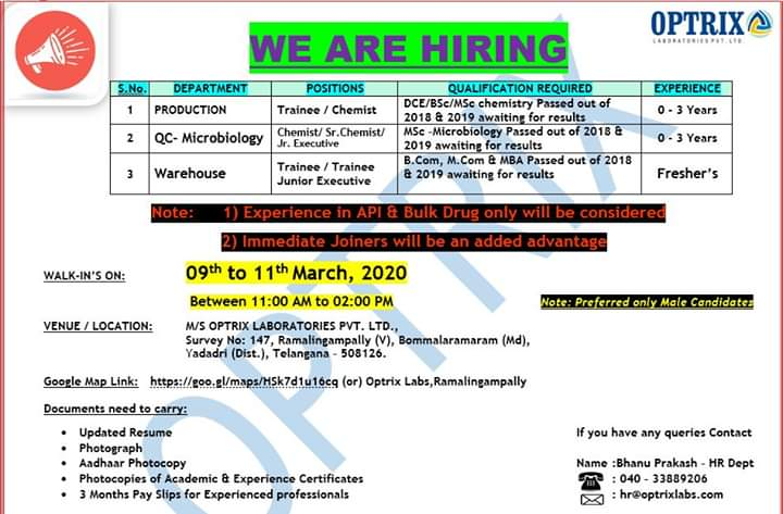 Optrix Laboratories Pvt. Ltd – Walk-In Drive for Freshers & Experience – Production | QC-Microbiology | Warehouse on 9th to 11th Mar' 2020