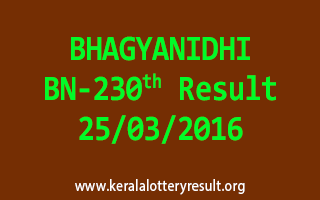 BHAGYANIDHI BN 230 Lottery Result 25-3-2016