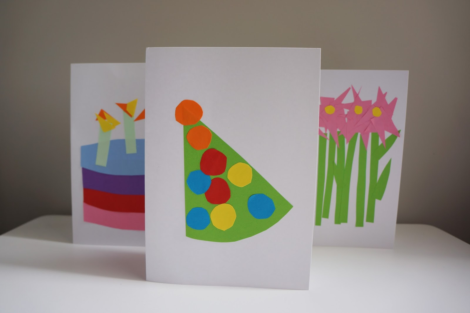 party hat birthday card design for toddler crafting