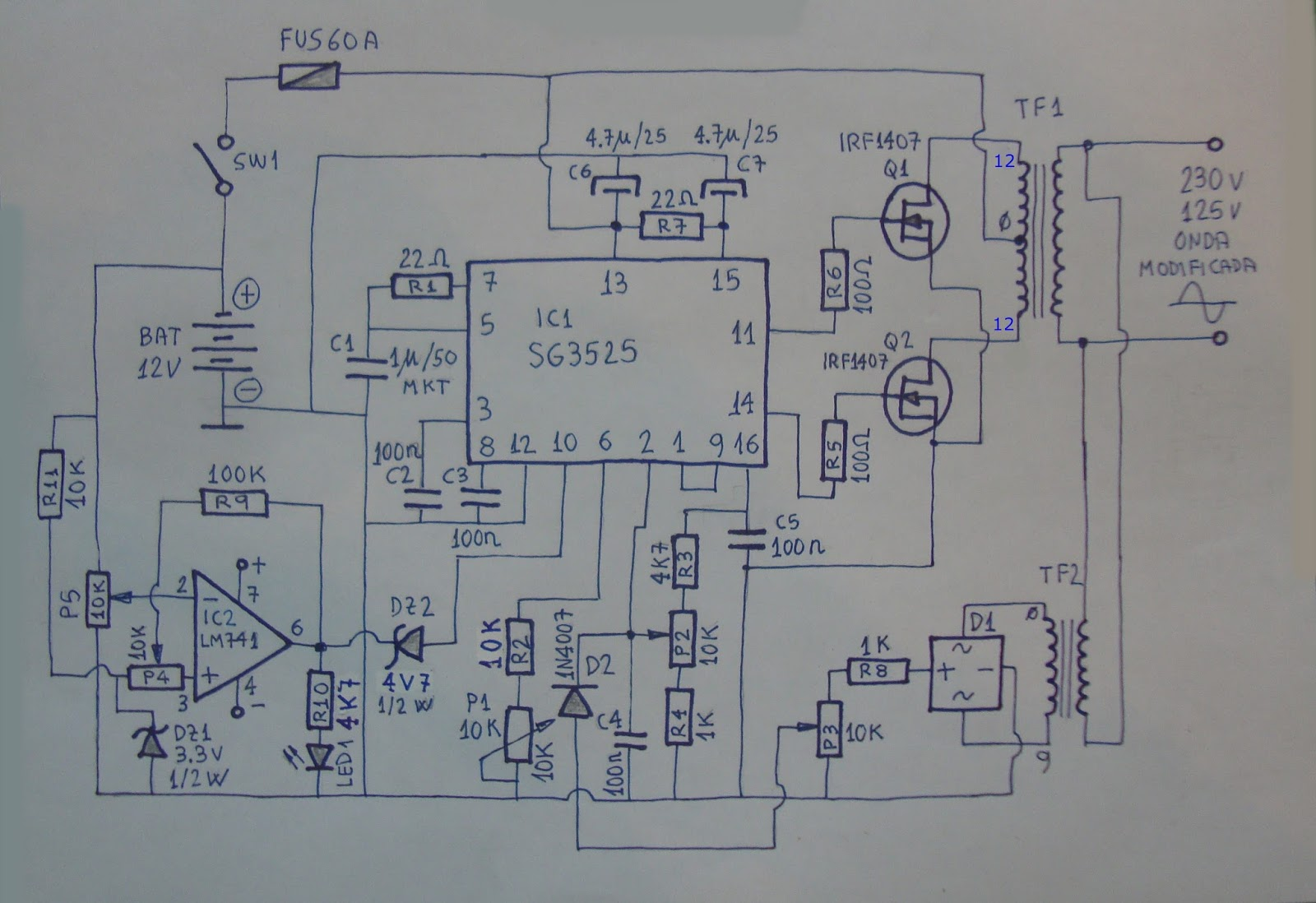3a 6v12v Solar Charge Control in addition Super Simple Inverter together with Simplest Piezo Driver Circuit Explained together with Step Up Voltage Converter likewise 555 Timer Audio Alarm Circuits. on circuit diagram of simple inverter 5