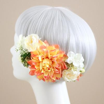 ダリアの髪飾り(コーラル) --ウェディングブーケと花髪飾りairaka