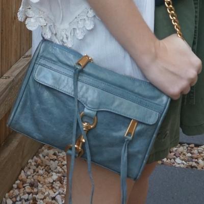 Rebecca Minkoff 2012 sky grey mini MAC bag with white crochet trim kimono | awayfromtheblue
