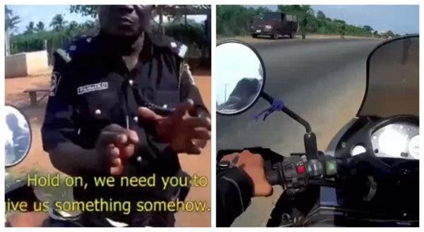 Drama as Policeman was caught demanding bribe from Spanish biker on arrival in Nigeria (Video)