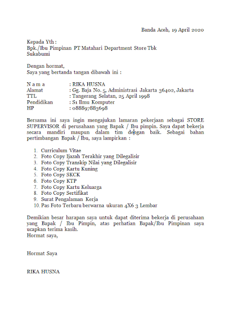 Surat kerja Di Matahari Department Store