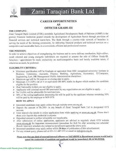 ZTBL Jobs 2020 - Latest Officers Grade III Jobs in ZTBL Apply Online for ZTBL Jobs October 2020
