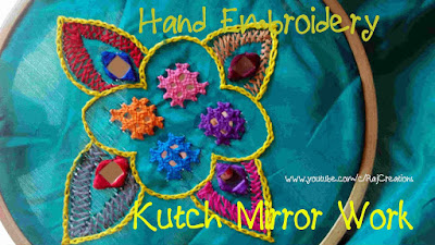 how to stitch mirror using kutch work