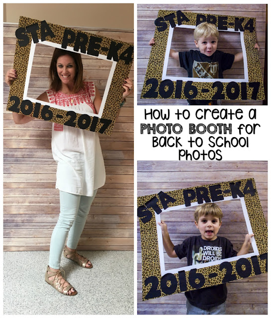 Use an extra bulletin board to create a PHOTO BOOTH for Back to School pictures