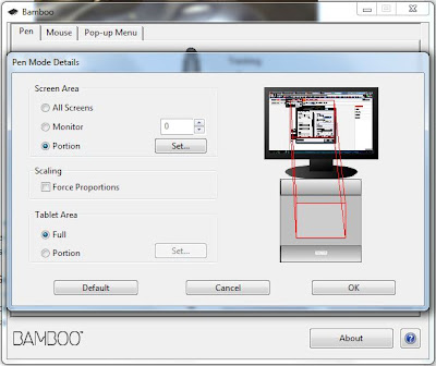 A screenshot of the Wacom Graphics Tablet Pen Mode Details
