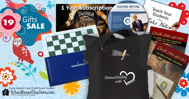 19 Gifts Sale; tote bag with chessset; Color Thru History coloring book; IEW Teaching Writing disk