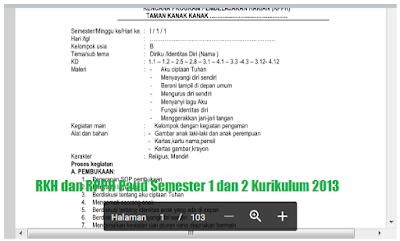 RKH dan RPPH Paud Semester 1 dan 2 Kurikulum 2013