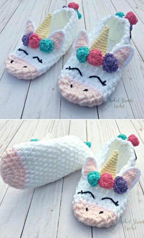 Unicorn Slippers - Crochet Pattern