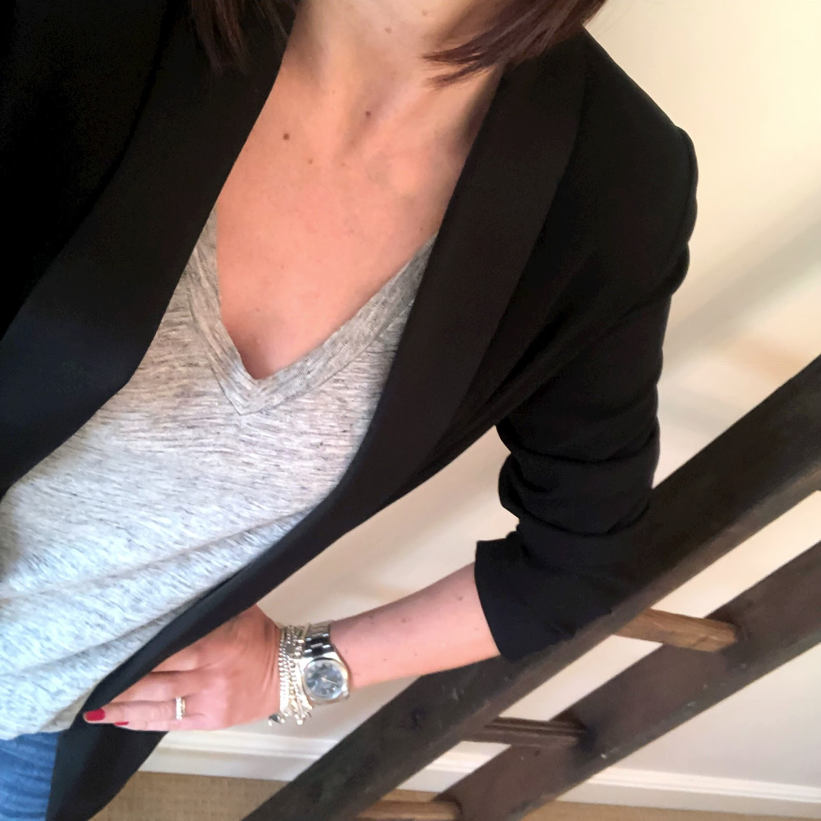 my midlife fashion, fenn wright manson darling tuxedo jacket, j crew linen deep v neck t shirt, j crew billie demi crop jeans, kurt geiger pia mid heel court shoes