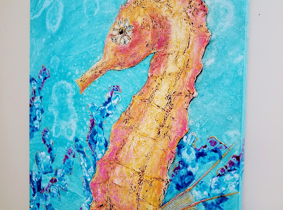 orange seahorse with coral painting