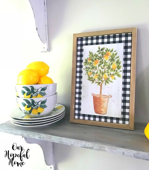 faux lemons buffalo check topiary bowls plates