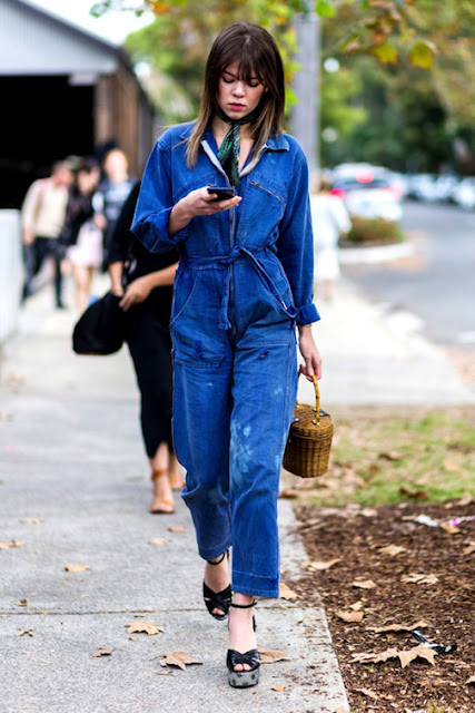 denim jumpsuit straw tote