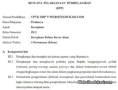 RPP Prakarya Kelas 9 SMP/MTs Semester 1 K13 Revisi 2019