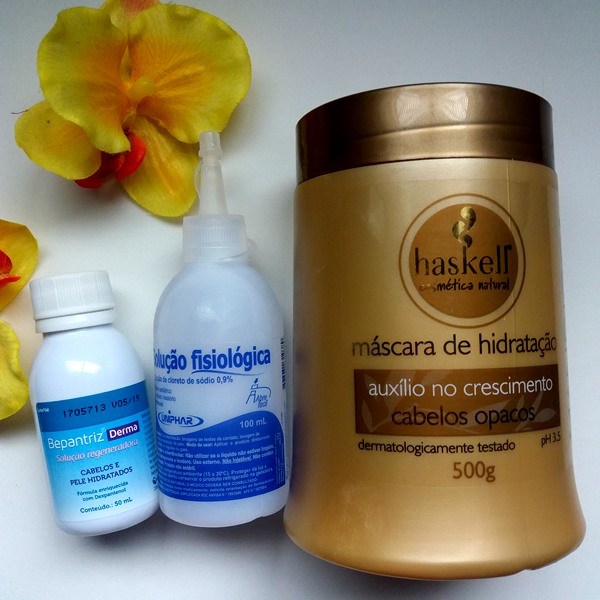 Como-deixar-os-cabelos-hidratados-com-Bepantriz-e-soro-fisiológico-na-máscara