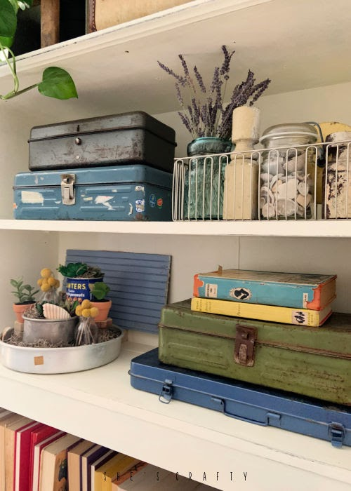 Summer Home Decor - vintage finds, seashells and faux succulents