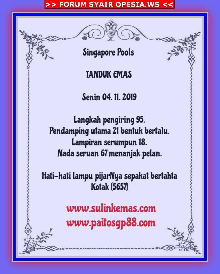 Kode syair Singapore Senin 4 November 2019 9