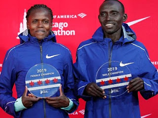 Brigid Kosgei breaks womens world record , Lawrence Cherono won Men race in Chicago marathon 2019 title.