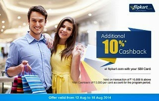 Get 10% Cash Back on Purchases worth Rs.10000 or above @ Flipkart (For SBI Credit Card Holders) Valid from 12th Aug'14 to 18th Aug'14