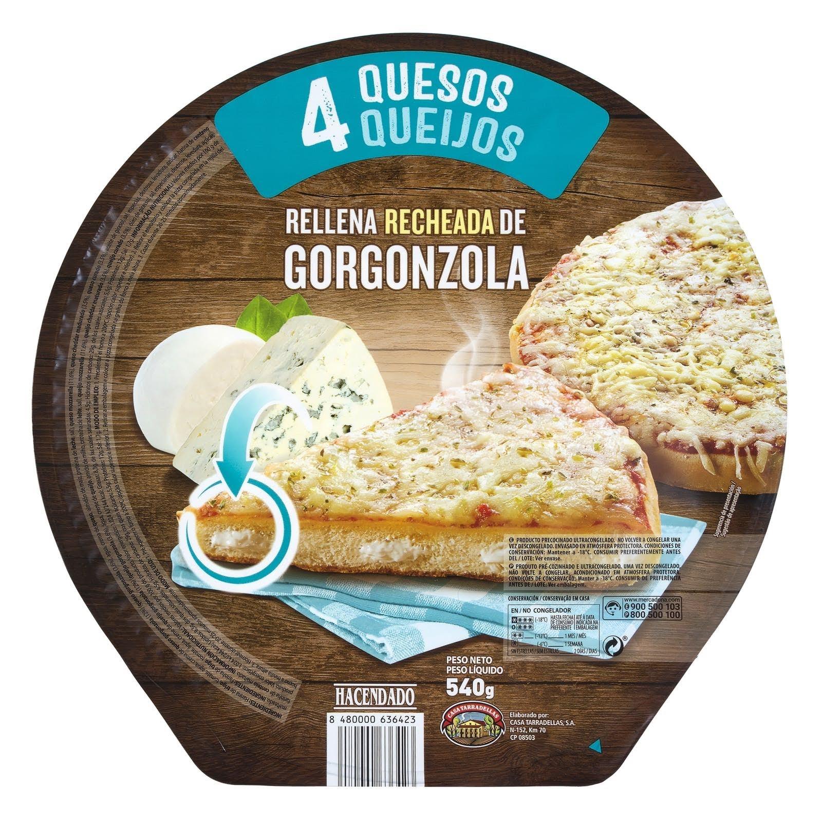 Pizza 4 quesos rellena de gorgonzola Hacendado