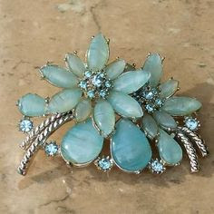 Pale blue Art Glass brooch by Exquisite