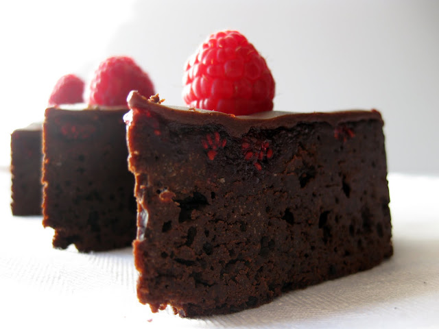 rich brownies with raspberry jam