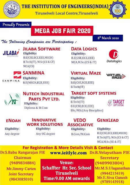 Tirunelveli Mega Private Job Fair on 8th March 2020 at Schaffter School