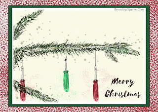 Christmas card design featuring hanging screwdrivers