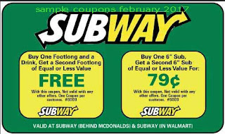 Subway coupons for february 2017