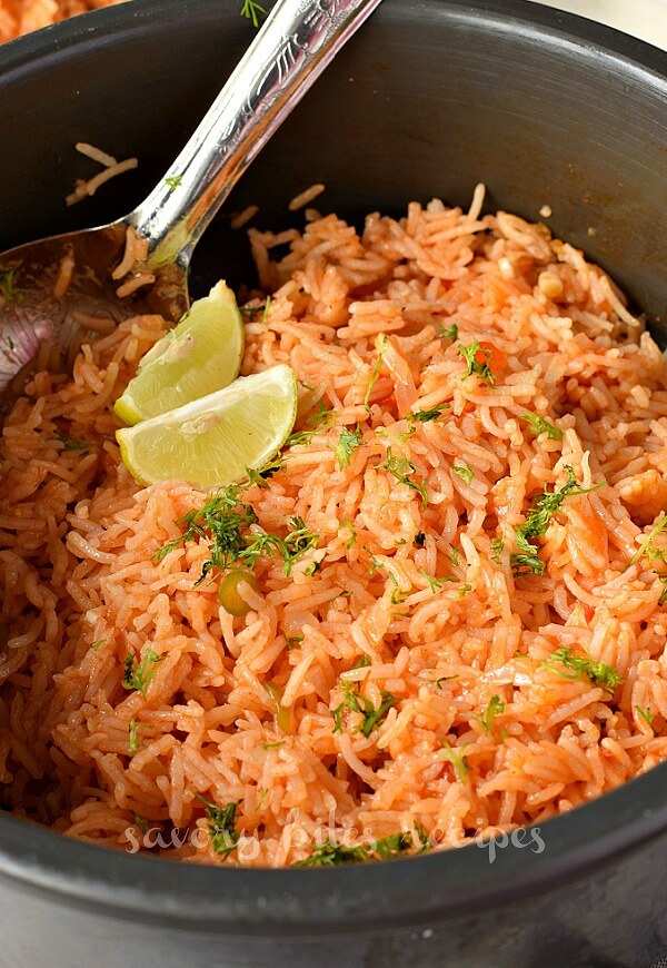 a pot a with fresh homemade mexican rice