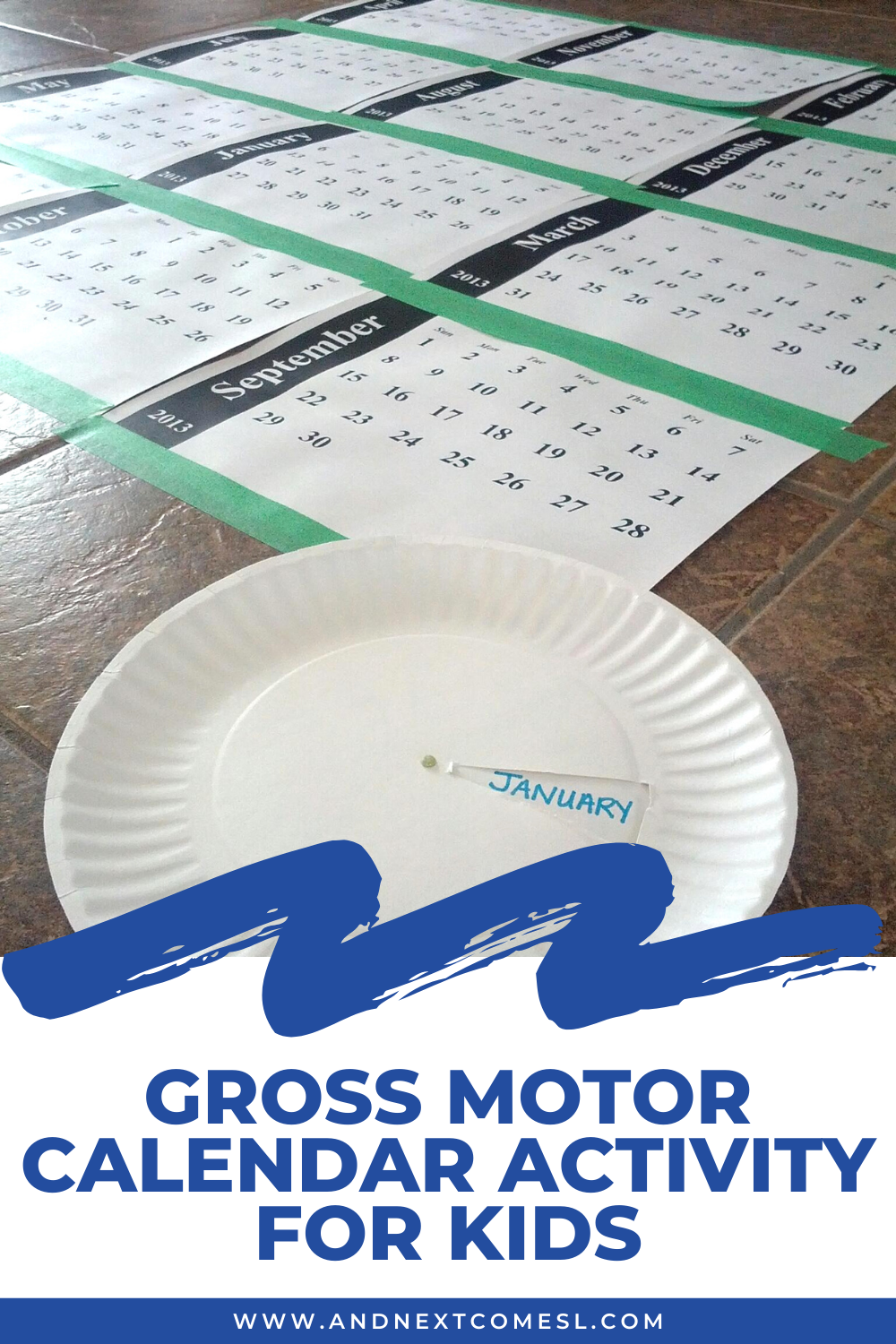 Teaching the months of the year with a simple gross motor calendar activity for kids