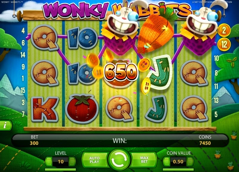 Wonky Wabbits Video Slot Screen
