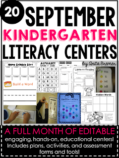 20 Kindergarten spiraled, hands-on Literacy Centers for September