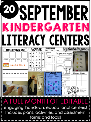 20 Kindergarten Literacy Centers for September