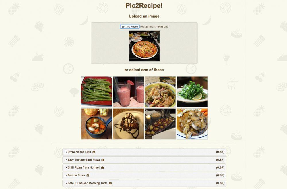 Contoh Program Pic2Recipe (techpulse.be)