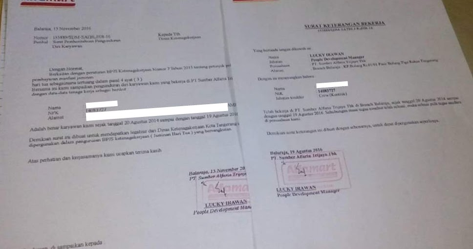 Contoh Surat Paklaring Alfamart Pt Sumber Alfaria Trijaya September 2021