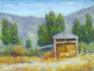 landscape painting pastel rural shed hay summer