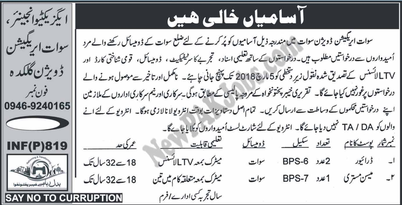 Irrigation Division Swat Latest Jobs 2018