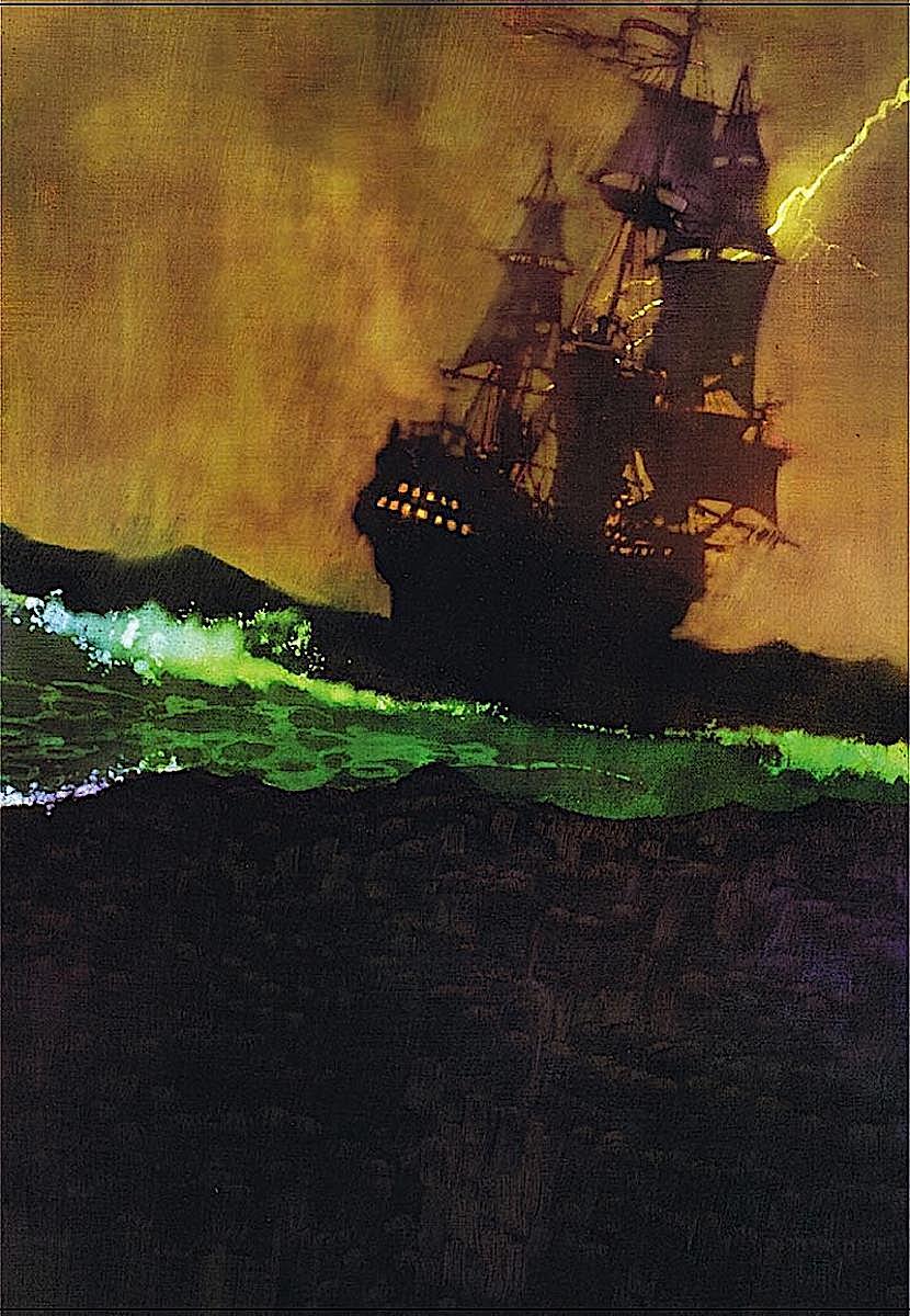 a Bernie Fuchs illustration of a sailing ship in a storm