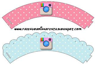 Wrappers para cupcakes de Fiesta de Instagram.