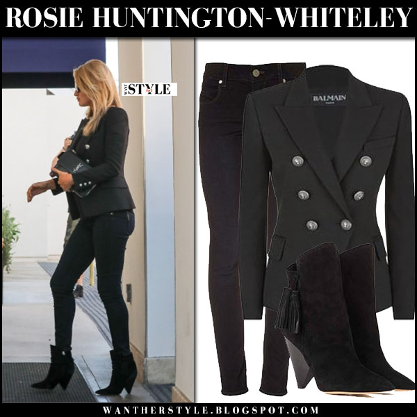 Rosie Huntington-Whiteley in black military balmain blazer, skinny black maternity jeans and black boots what she wore streetstyle
