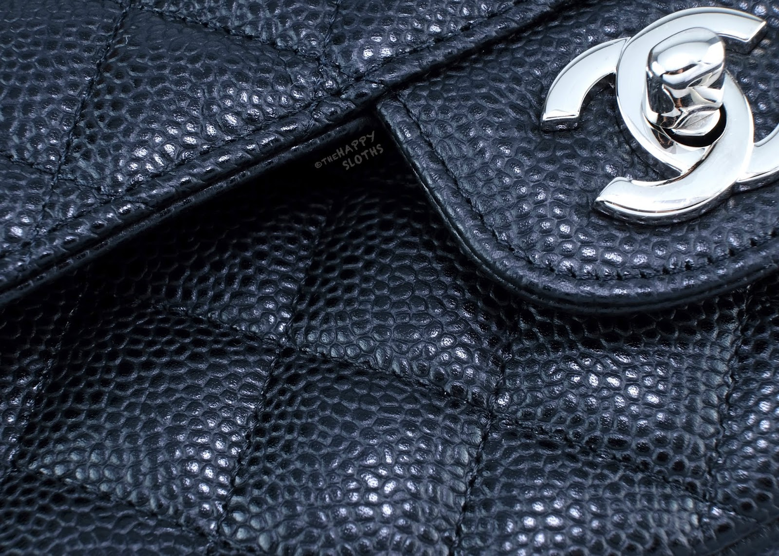 Chanel | Medium Classic Flap Handbag in Black Caviar Leather with Silver Hardware | Grained Calfskin: Review